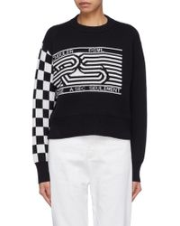 Proenza Schouler - Pswl Checkerboard Sleeve Graphic Jacquard Cropped Sweater - Lyst