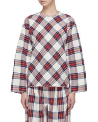 Ms Min - Wide Sleeve Tartan Plaid Blouse - Lyst
