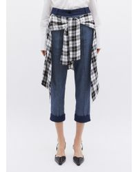 Hellessy - 'sentry' Check Plaid Waist Panel Cropped Jeans - Lyst