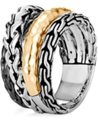 John Hardy - 'asli Classic Chain' 18k Yellow Gold Silver Tiered Ring - Lyst