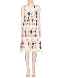Alice + Olivia - 'becca' Hummingbird Floral Embroidered Tulle Dress - Lyst