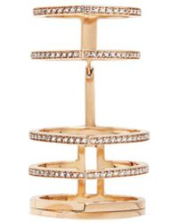 Repossi - 'antifer' Diamond Pavé 18k Rose Gold Six Row Linked Ring - Lyst