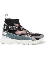 Valentino - 'heroes Her' Logo Strap Sock Knit High Top Sneakers - Lyst