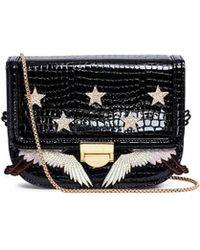 Venna - Cubic Zirconia Star Crane Patch Patent Leather Bag - Lyst