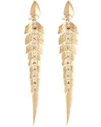 Stephen Webster - Diamond 18k Yellow Gold Linked Feather Drop Earrings - Lyst