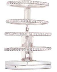Repossi - 'antifer' Diamond Pavé 18k White Gold Six Row Linked Ring - Lyst
