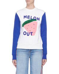 Être Cécile - 'melon Out' Slogan Graphic Print Colourblock Sweatshirt - Lyst