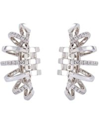Dauphin - Diamond 18k White Gold Cage Clip Earrings - Lyst