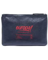 Balenciaga - 'supermarket' Print Crinkled Leather Pouch - Lyst