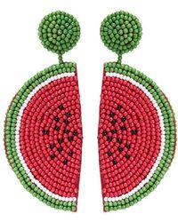 Kenneth Jay Lane - Beaded Watermelon Slice Drop Earrings - Lyst