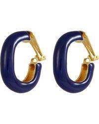 Kenneth Jay Lane - Enamel Hoop Clip Earrings - Lyst