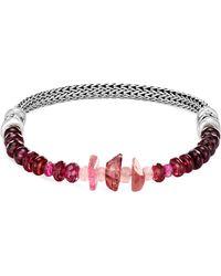 John Hardy - 'classic Chain' Tourmaline Garnet Silver Extra Small Bracelet - Lyst