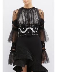 Maticevski - 'rumba' Tiered Flared Sleeve Web Lace Cropped Top - Lyst