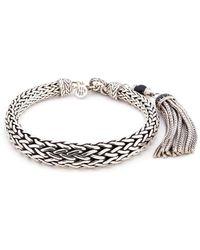 John Hardy - Sapphire Onyx Tassel Charm Silver Woven Chain Bracelet - Lyst