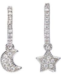 CZ by Kenneth Jay Lane - Cubic Zirconia Mismatched Star Moon Half Hoop Earrings - Lyst
