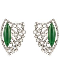 LC COLLECTION - Diamond Jade 18k White Gold Openwork Earrings - Lyst