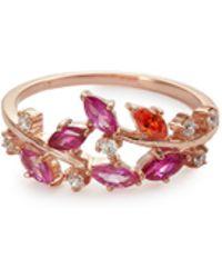 Anabela Chan - 'ivy' Ruby Sapphire Garnet 9k Rose Gold Ring - Lyst