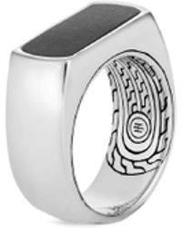 John Hardy - 'asli Classic Chain' Onyx Silver Signet Ring - Lyst