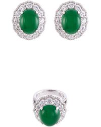 LC COLLECTION - Diamond Jade 18k Gold Ring And Earrings Set - Lyst
