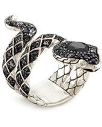 John Hardy - Diamond Sapphire Onyx Silver Cobra Coil Ring - Lyst