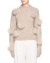 Lyst Tibi Pompom Alpaca Merino Wool Blend Sweater In Brown