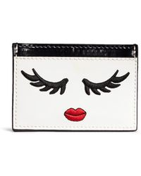 Alice + Olivia - 'winking Stace Face' Embroidered Patent Leather Card Holder - Lyst
