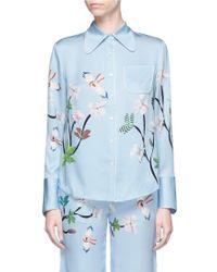 Helen Lee - Flying Bunny Print Silk Pyjama Shirt - Lyst