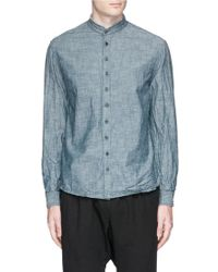 1.61 - 'n.c.' Raw Edge Mandarin Collar Chambray Shirt - Lyst