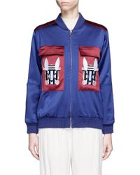 Helen Lee - 'bad Bunny' Embroidered Colourblock Bomber Jacket - Lyst
