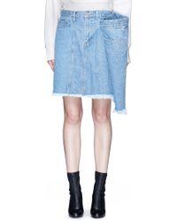 Facetasm - Extended Panel Frayed Denim Skirt - Lyst
