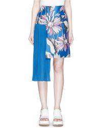 Chictopia - Asymmetric Accordion Pleat Floral Print Skirt - Lyst