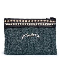 Venna | 'smile' Pearl Star Chain Embellished Bouclé Clutch | Lyst