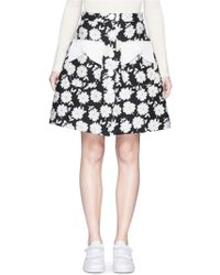Chictopia - Button Front Floral Jacquard Skirt - Lyst