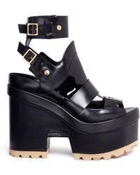 Sacai - X Pierre Hardy Caged Leather Platform Sandals - Lyst