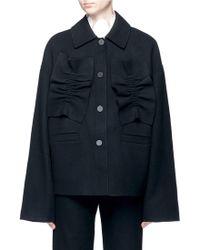 ShuShu/Tong - Ruffle Trim Felted Virgin Wool Blend Coat - Lyst