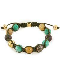 Shamballa Jewels - 'shamballa' Diamond Emerald 18k Yellow Gold Beaded Cord Bracelet - Lyst