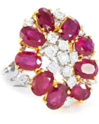 LC COLLECTION - Diamond Ruby 18k White Gold Cluster Ring - Lyst