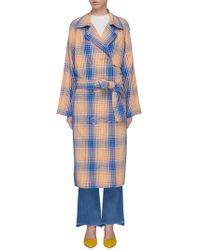 Simon Miller - 'paz' Belted Check Plaid Trench Coat - Lyst