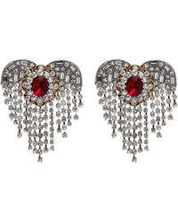 Venna - Glass Crystal Heart Fringe Earrings - Lyst
