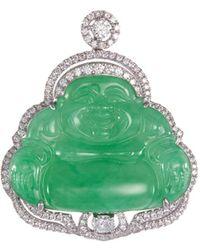 LC COLLECTION - Diamond Jade 18k White Gold Buddha Pendant - Lyst