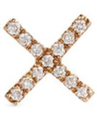 Loquet London - 'x' Diamond 14k Yellow Gold Single Stud Earring – Send A Kiss - Lyst