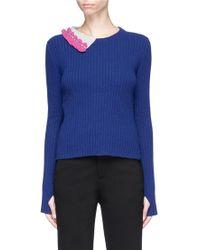 Johanna Ho - Crochet Knit Collar Overlay Staggered Hem Sweater - Lyst