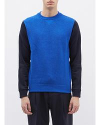 Theory - 'hybrid' Merino Wool Rib Knit Panel Patchwork Sweatshirt - Lyst