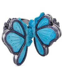 Lydia Courteille | Diamond Sapphire Turquoise 18k Gold Butterfly Two Finger Ring | Lyst