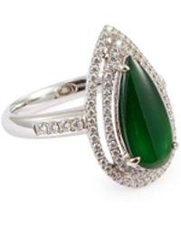 LC COLLECTION - Diamond Jade 18k White Gold Teardrop Ring - Lyst