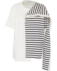JW Anderson - Stripe knit panel patchwork T-shirt - Lyst