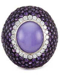Roberto Coin - Diamond Amethyst Jade 18k Gold Ring - Lyst