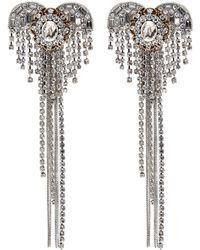 Venna - Glass Crystal Heart Fringe Drop Earrings - Lyst