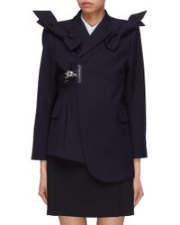 ShuShu/Tong - Bow Shoulder Lapel Clip Asymmetric Wool Twill Jacket - Lyst