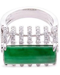 LC COLLECTION - Diamond Jade 18k White Gold Cutout Ring - Lyst